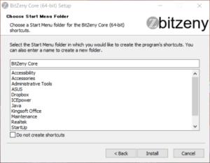 BitZeny Coreのインストール画面
